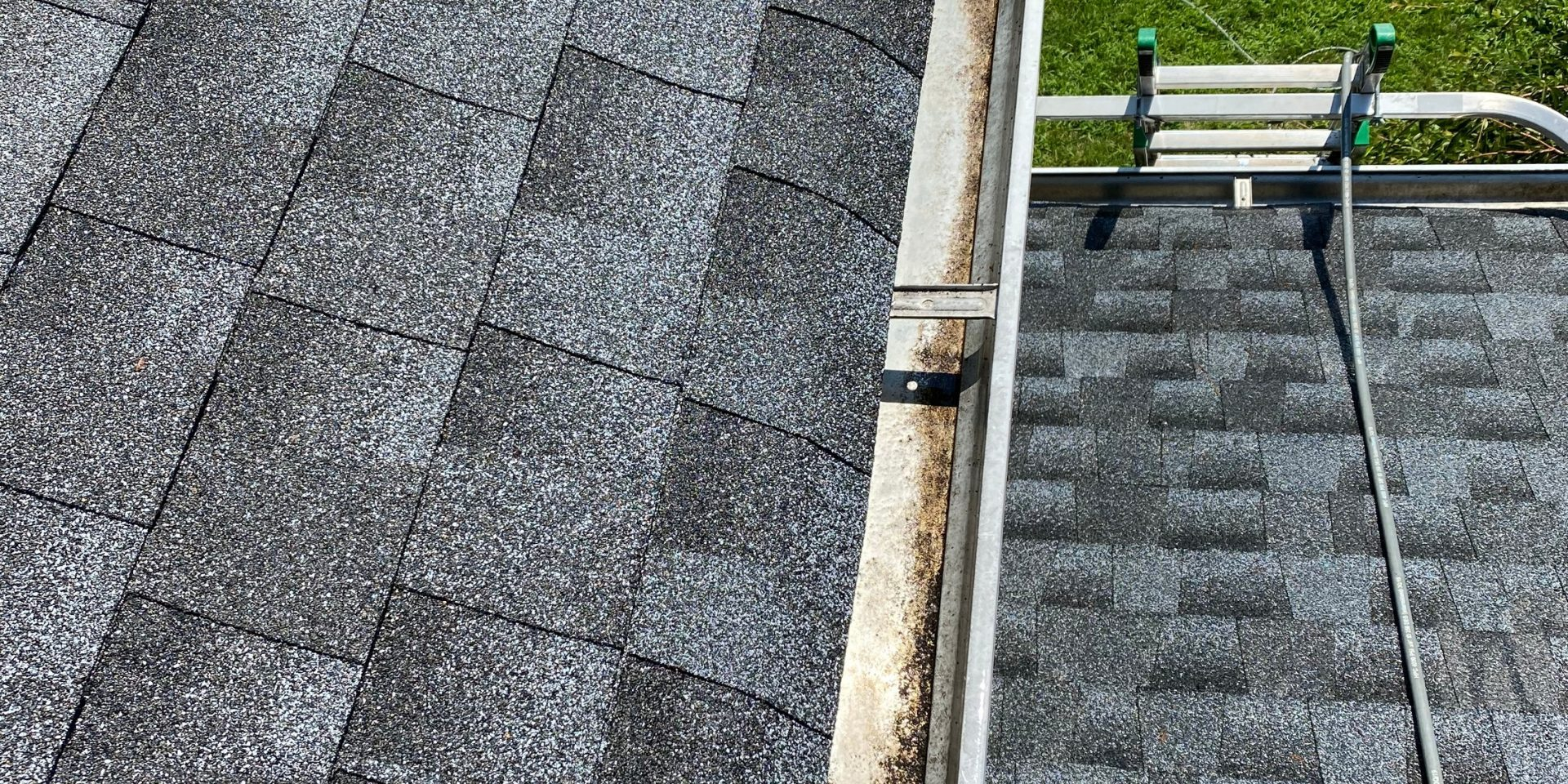 gutters cleaned with ladder